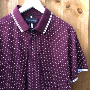 Maroon pin polka dot polo Short Sleeve Shirt L